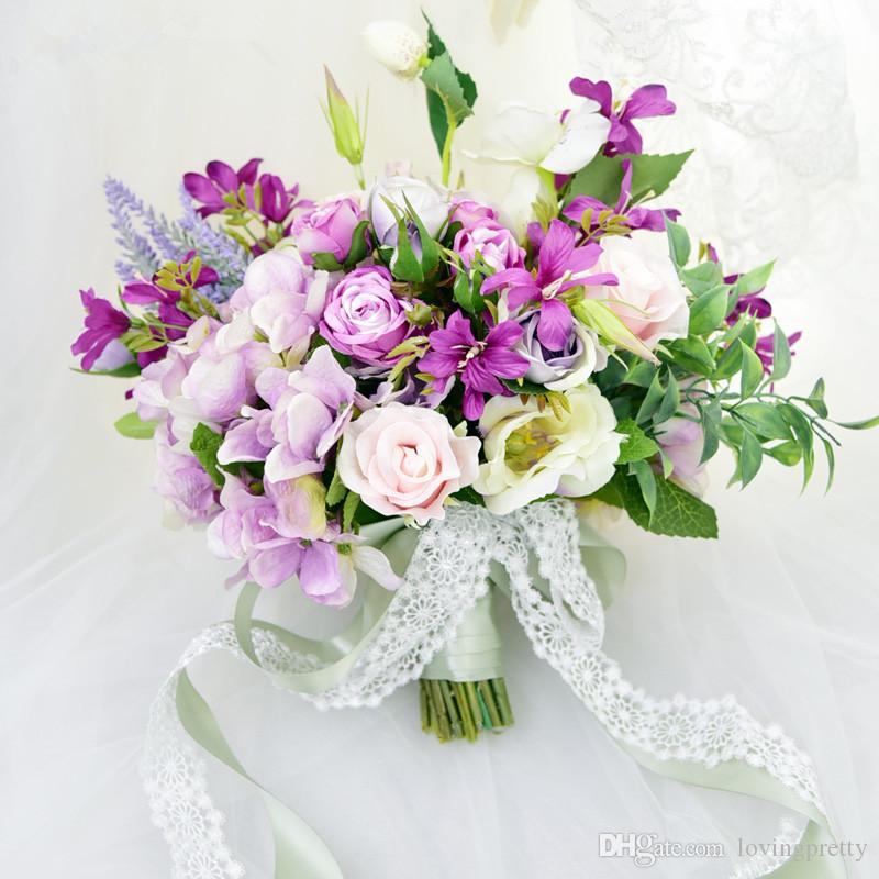 Immagini Di Bouquet Da Sposa.Janevini Bouquet Da Sposa Viola A Forma Di Cuore Bouquet Da Sposa Artificiale Con Fiori In Pizzo Bouquet Da Sposa Bouquet Da Sposa Damigella D Onore