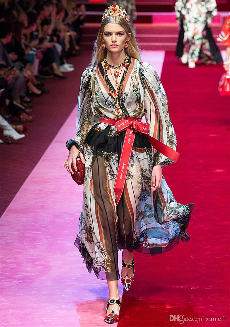Marke Fashion Runway Kleid 2018 Neue Frühling Frauen Volle Hülse V-ausschnitt A-Line Vintage Lange Maxi Kleider Vestido De Festa Robe Femme