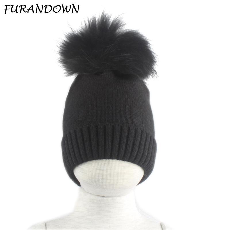2019 Baby Hat Winter Children Baby Warm Cotton Beanies Hats Crochet Knitted  Kids Caps Boys Girls Brand Real Fur Pom Pom Hat From Hongmihoutao 9fead55fbbdf