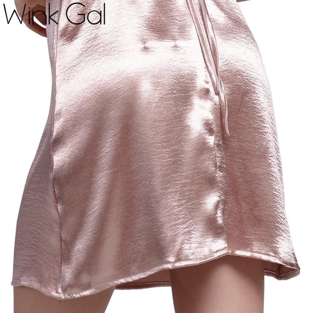 Satin Lace Up Slip Dress Silk Sexy Camicie da notte Sleepwear Summer Nightwear Abiti da notte Donna 3257