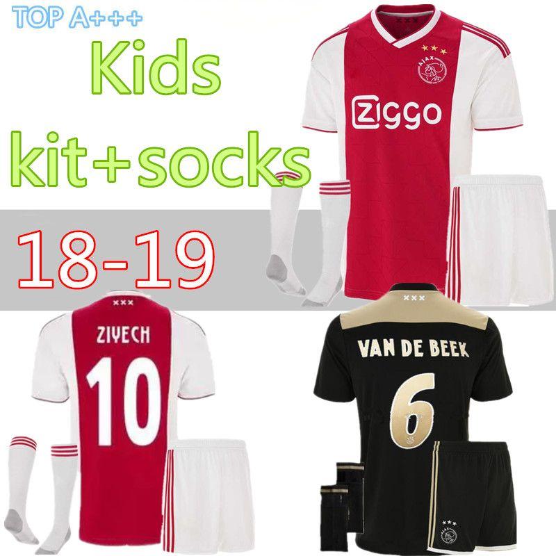 07b597ab3 2018 2019 Best Quality Ajax Kids+socks Soccer Jersey Home Away ...