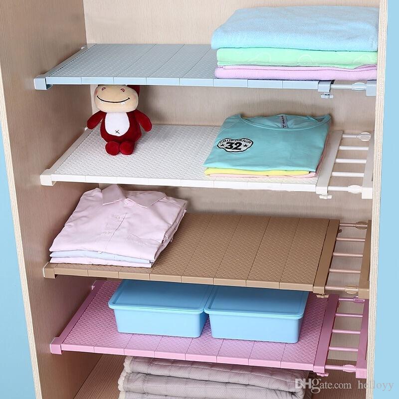 2018 Adjustable Closet Organizer Storage Shelf Wall Mounted Kitchen Rack  Space Saving Wardrobe Decorative Shelves Cabinet Holders From Helloyy, ...