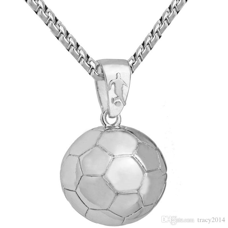 Mens Basketball Football Pendant Necklaces Necklace Gold Silver Plated Stainless Steel Chain Sport Necklace For Men Jewelry Accessories