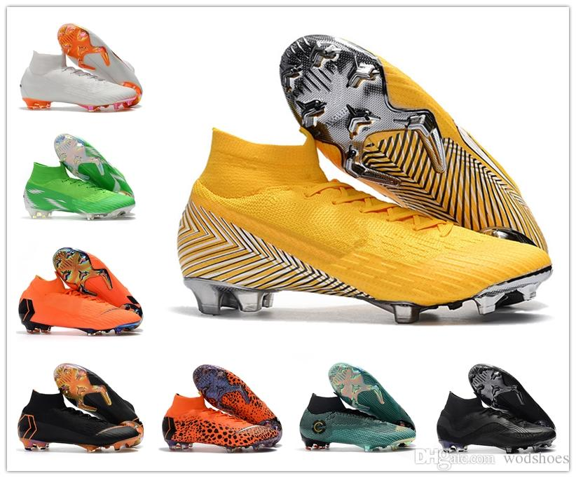 430f93375cb Mens Original Black CR7 Football Boots Mercurial Superfly V FG Soccer Shoes  C Ronaldo 7 Top Quality Silver Soccer Cleats Online with  79.0 Pair on ...