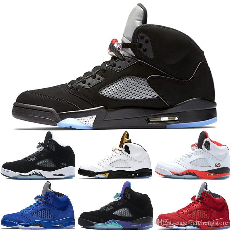 630715d04e4 Compre Nike Air Jordan Aj5 1 4 5 6 11 12 13 5 Zapatillas De Baloncesto Para  Hombre 5 5s Azul Rojo Blanco De Ante Cement Mermelada De Espacio Oreo OG ...