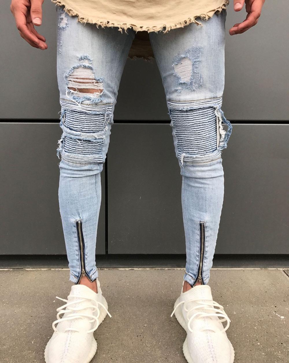 d6869f43e Compre Hombre Hombre Ripped Biker Jeans Blanco   Azul Rodilla Plisada  Cremallera De Tobillo Marca Slim Fit Corte Destruido Skinny Jean Pants Para  Hombre ...