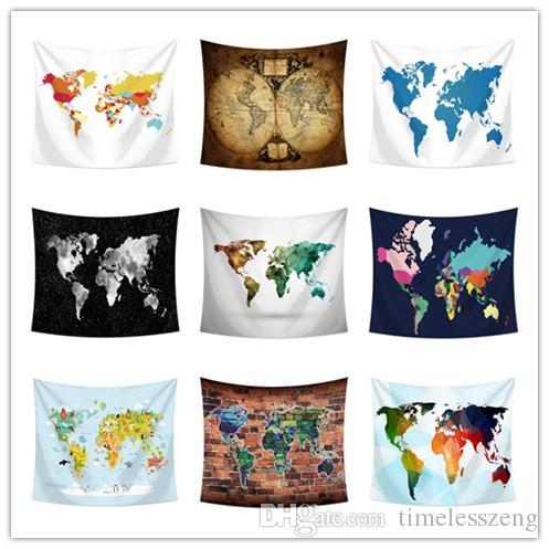 150 130cm World Map Tapestry Wall Hanging Tapestry Beach Towel Yoga