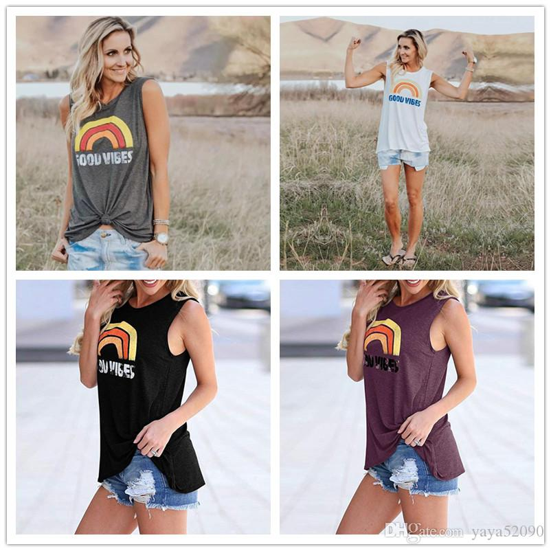 e1e22354fcb Womens T Shirts Summer Graphic Print Sleeveless T Shirt Vest Casual Loose  Tank Fit Tunic Tops Rainbow Print Designer Shirts Womens Clothing T Shirts  Online ...