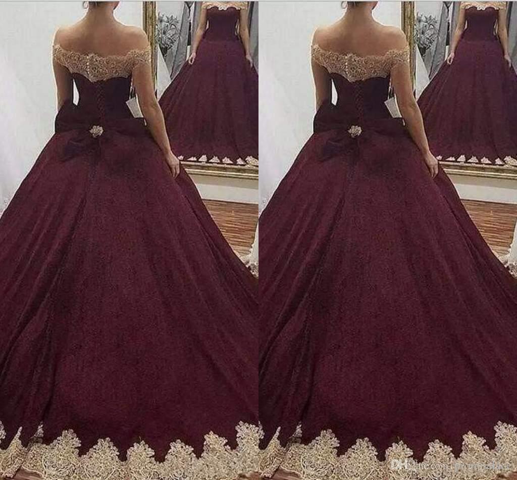 For Sale Ball Gown Quinceanera Dresses Off Shoulder Gold Applique ...