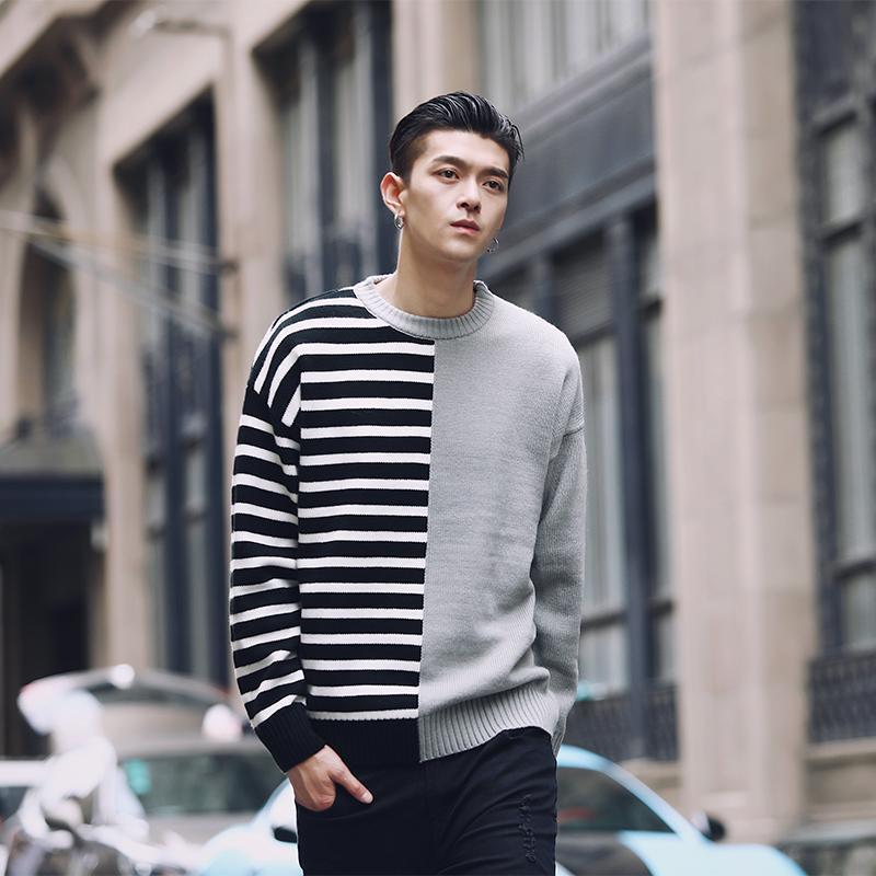 2019 Patchworker Pullover Sweater Men Stripe And Solid Korean Men