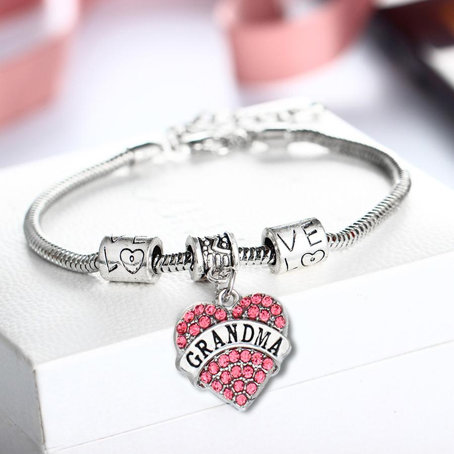 Gifts For Mom Grandma Sister Teacher Nurse Aunt Uncle Pink Crystal Heart Pendant Chain Charm Bracelet For Women Men Family