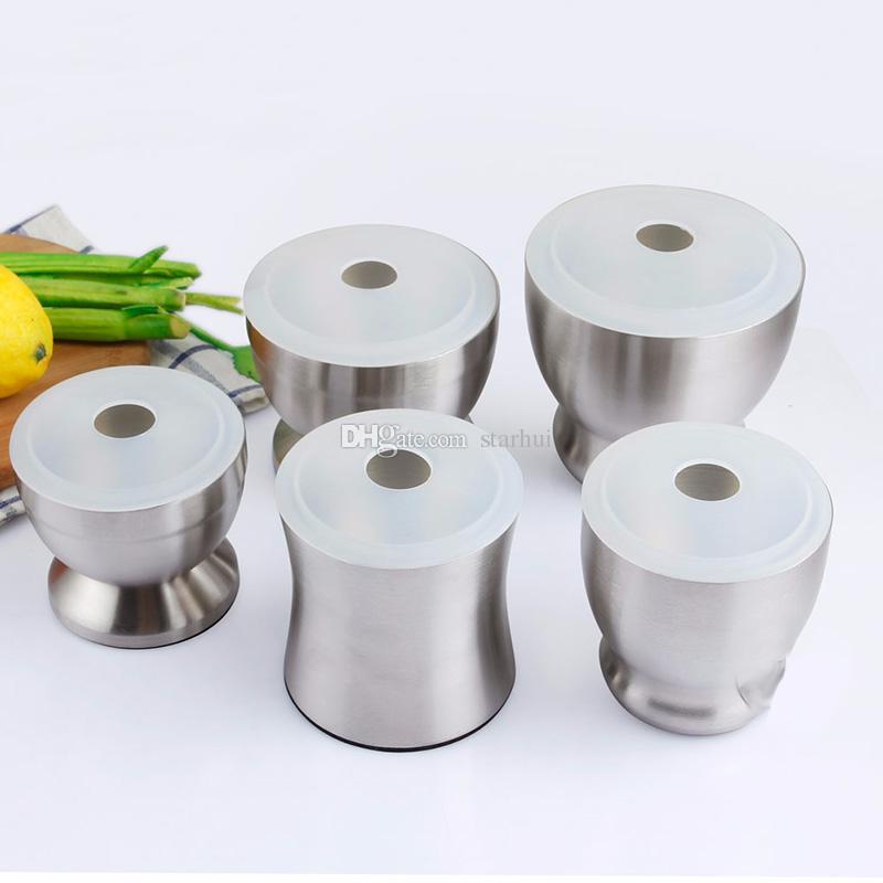 Aglio grinder pratico in acciaio inox mortaio e pestello cucina aglio erbe mulino grinder ciotola strumento di cottura cucina wx9-357
