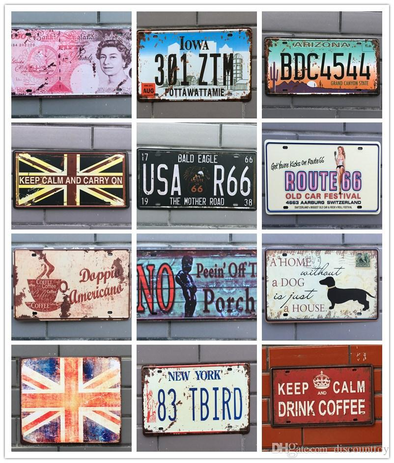 Retro License Plate Metal different themes beer garage warning Motor Vintage Craft Tin Sign Retro Metal Painting Poster Bar Pub Wall Art