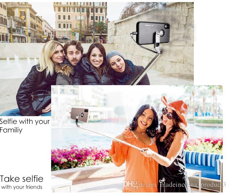 Selfie Stick Phone Case For iPhone X Portable Foldable For iPhoneX 10 Case Stretch Handheld Wired