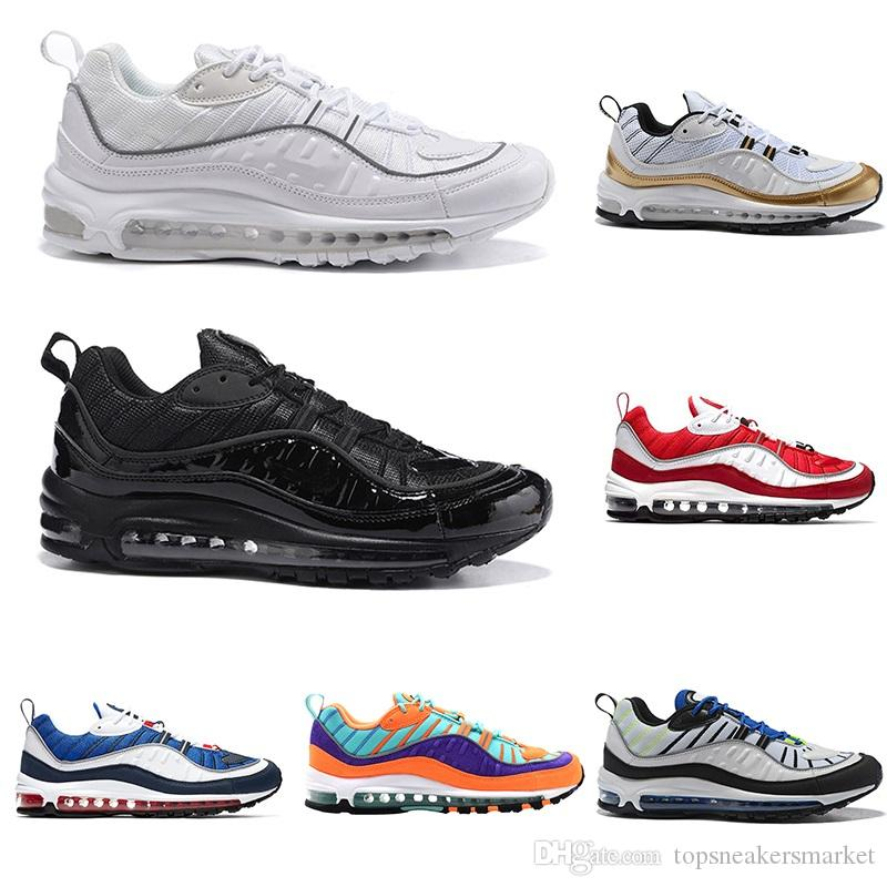 6067ab09ad1e39 Mens 98 98s Running Shoes OG Gundam Cone Triple Black White UK Racer Blue  Red Tour Yellow Cheap Sports Trainers Sneakers Size 40 46 Kids Running  Shoes Black ...