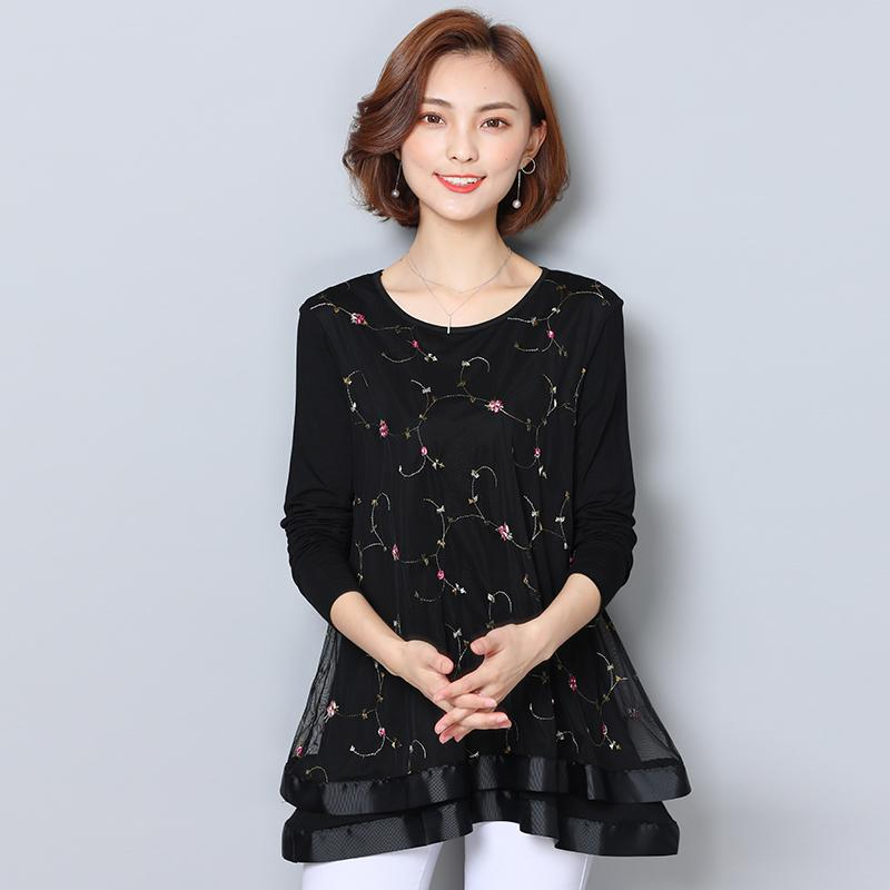 Xl-5XL Artı Boyutu Gevşek Kadın Bluz Gömlek Sonbahar Yeni Uzun Kollu Nakış O-Boyun Dantel Gömlek Üstleri Bayanlar Casual Siyah Bluasa