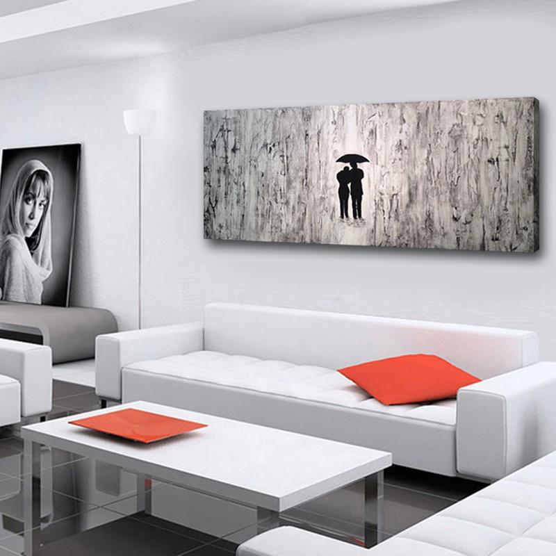 Dipinti a mano Dipinti astratti in bianco e nero Amanti moderni con  Ombrello Opere Quadri a parete per soggiorno Decorazioni da parete Arte