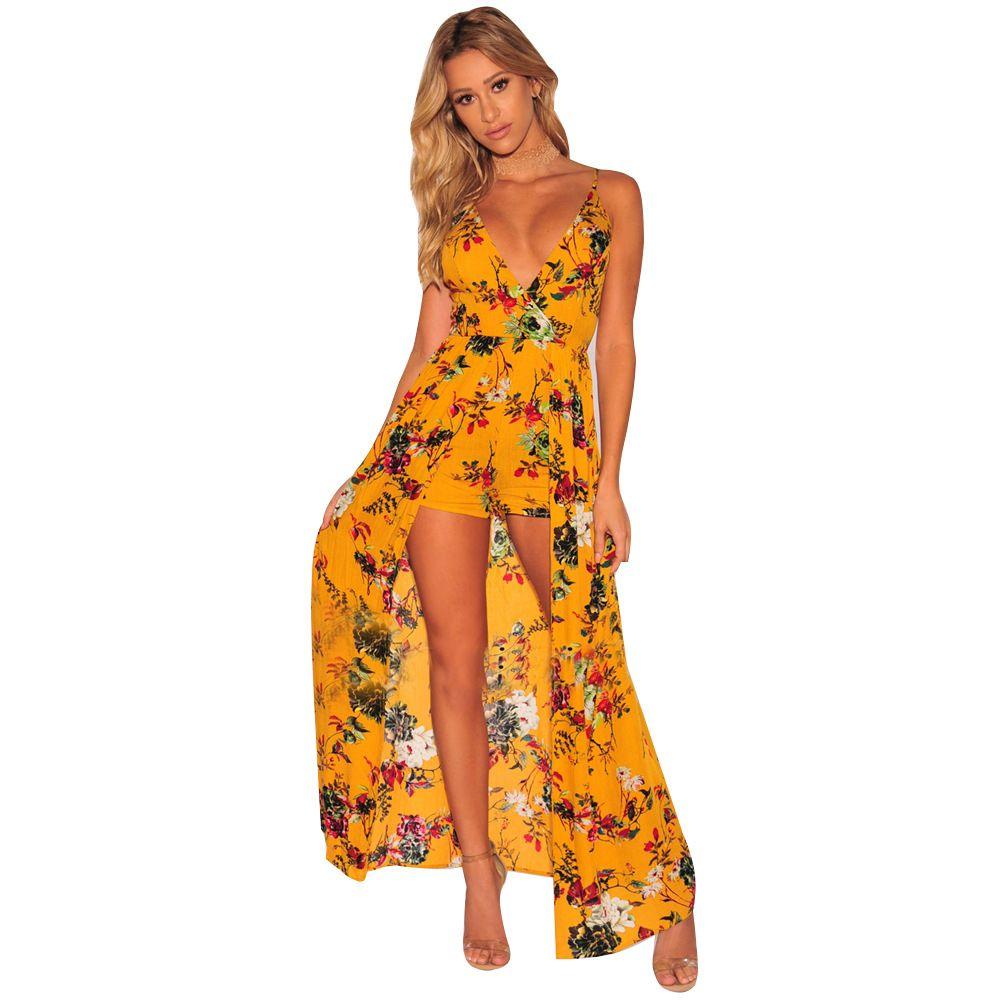 604d7348d57 2019 Floral Print Dip Hem Wrap Beach Romper 2018 Black Mid Waist  Asymmetrical Women Clothes Deep V Neck Vacation Playsuit From Beimu