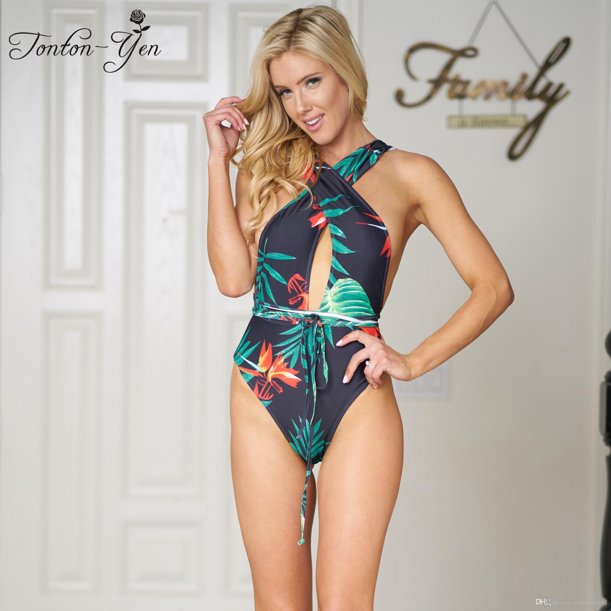 a1679cb06c Acquista Sexy Hollow Out Fasciatura One Piece Green Perizoma Costume Da  Bagno Donna Push Up Monokini Swimwear Stampa Vita Alta Costume Da Bagno  2018 Estate ...