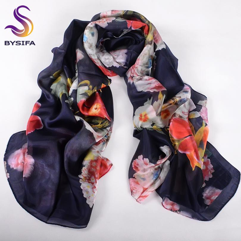 [BYSIFA] Winter Women Warm Silk Scarf Shawl Hijab Fashion Luxury 100% Silk Long Scarves Spring Autumn Chinese Roses Scarves Cape