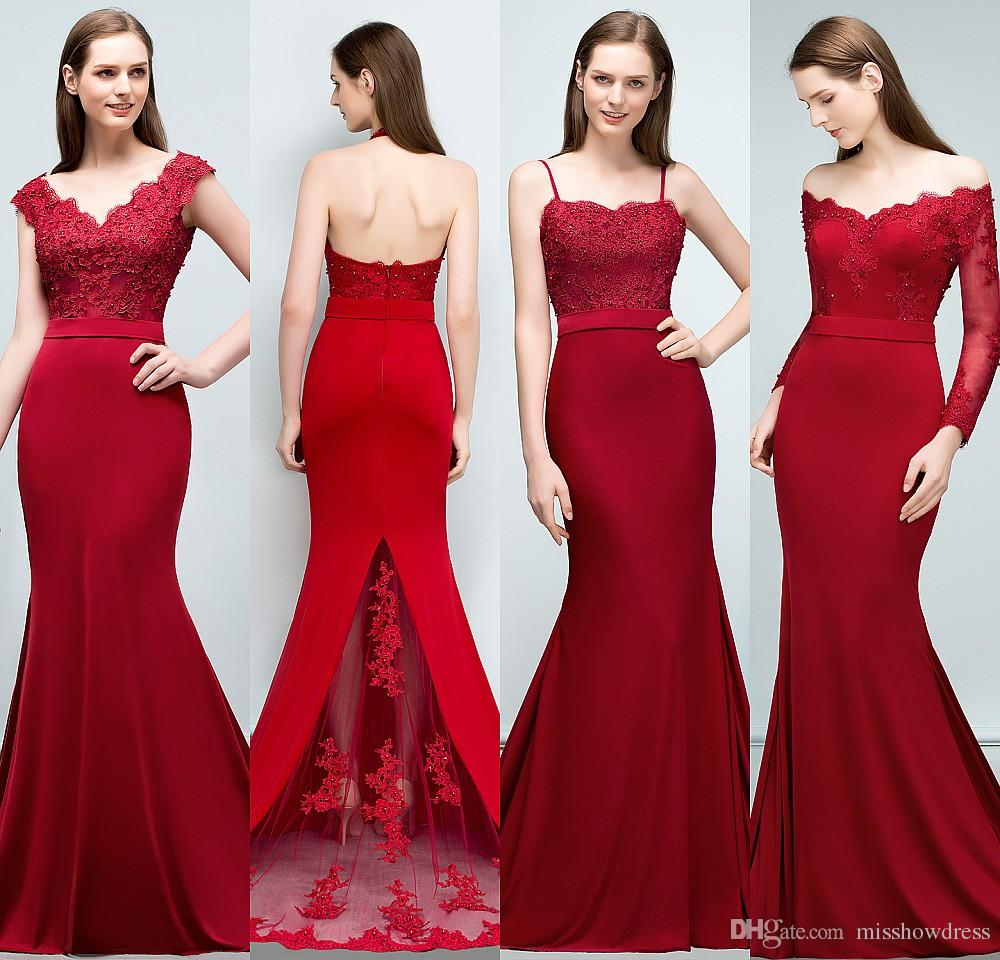 0e8007451db 2018 New Burgundy Series Mermaid Bridesmaid Dresses Lace Beaded Sweetheart Long  Maid Of Honor Gowns Off Shoulder Wedding Guest Dress CPS796 Different ...