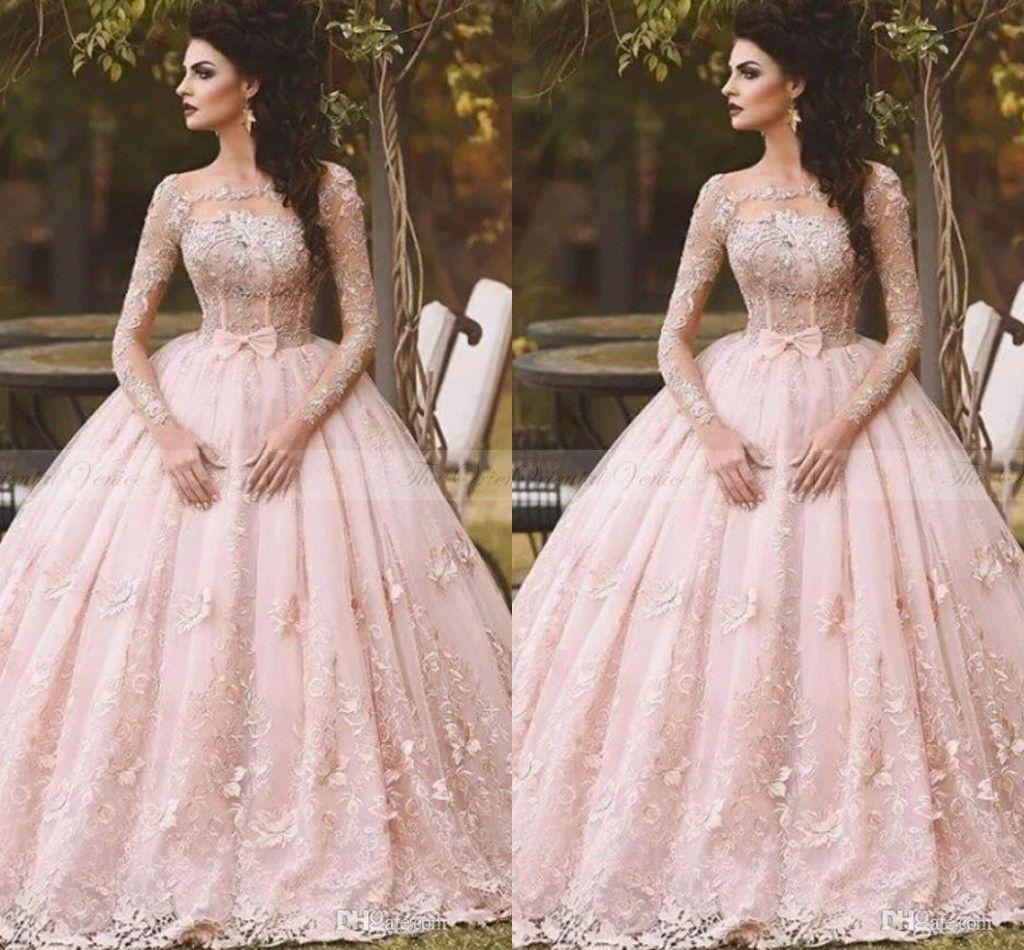 De Novia 3d Rosa Mangas Dubai Princesa Árabe 2018 Blush Vestidos Encaje Largas Flora Barco Country Vestido Boda Rosado Cuello ymO8w0vNn