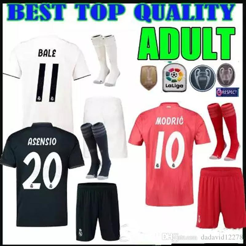 c672090f3 ADULT KIT 18 19 Real Madrid Soccer Jerseys Home Away Third Red Shirt ...
