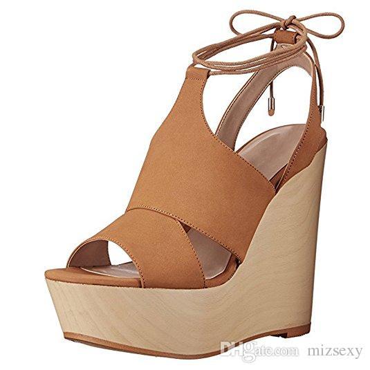 Cuñas Zapatos Toes Mujeres 2018 Nuevos Sandalias Tacones Diseñador Altos Peep De Moda Cordones Plataforma Fiesta Con shQdCtrx