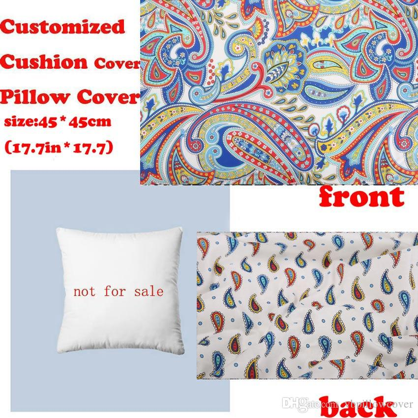 Customized Decorative Pillows Sofa Waist Throw Cushion Cover Pillow Case  White Paisley Big Flower Pattern By Vb Fabric Black And White Pillow Cases  Grey ...