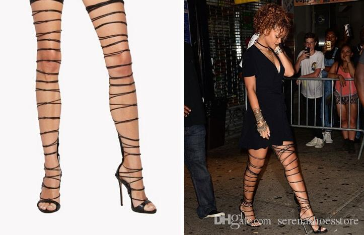 53fdd1c753c 2017 Rihanna Style Thigh High Sandals Cut Outs Gladiator Boots Open Toe High  Heel T Walk Fashion Shoes Work Boots Knee High Boots From Serenashoesstore