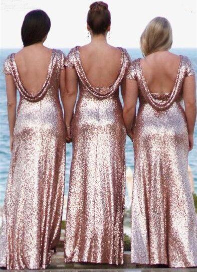 Vestidos de dama de honor brillantes de Bling 2019 Lentejuelas de oro rosa Sirena Dos piezas Vestidos de baile Vestidos de fiesta de noche de playa rural