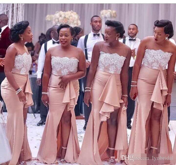 Compre 2018 Vestido De Dama De Honor Árabe Sudafricano Jewel Neck ...