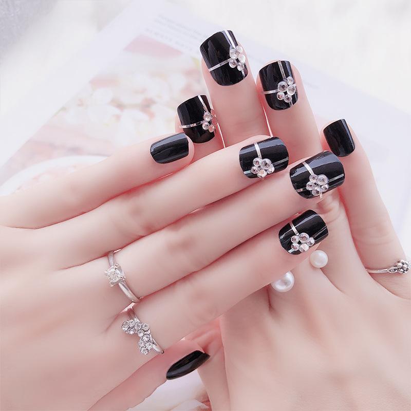 Fashion 3D Women\'S French Bridal Wedding Nails Rhinestones False ...