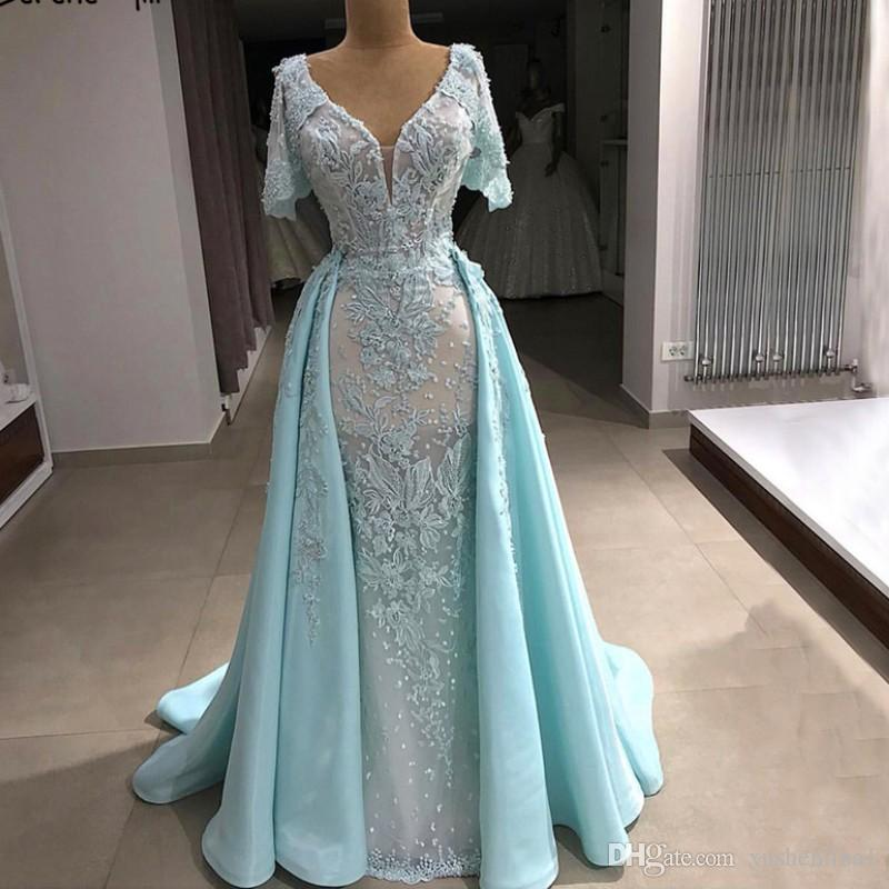 Mint V Neck Vintage Prom Dress 2018 New Handmade Flowers Short