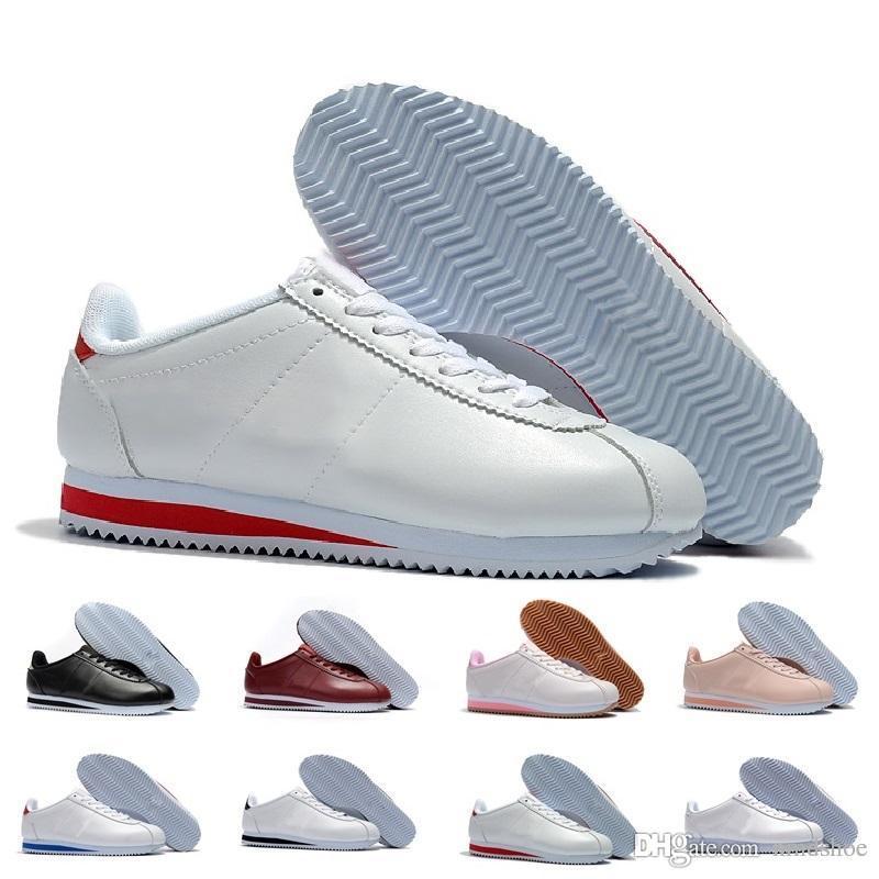 cheaper 9b17a 2427a Acheter Classique Cortez Basique Cuir Casual Chaussures Pas Cher Mode  Hommes Femmes Noir Blanc Rouge Doré Skateboarding Sneakers Taille 36 44 De   39.53 Du ...