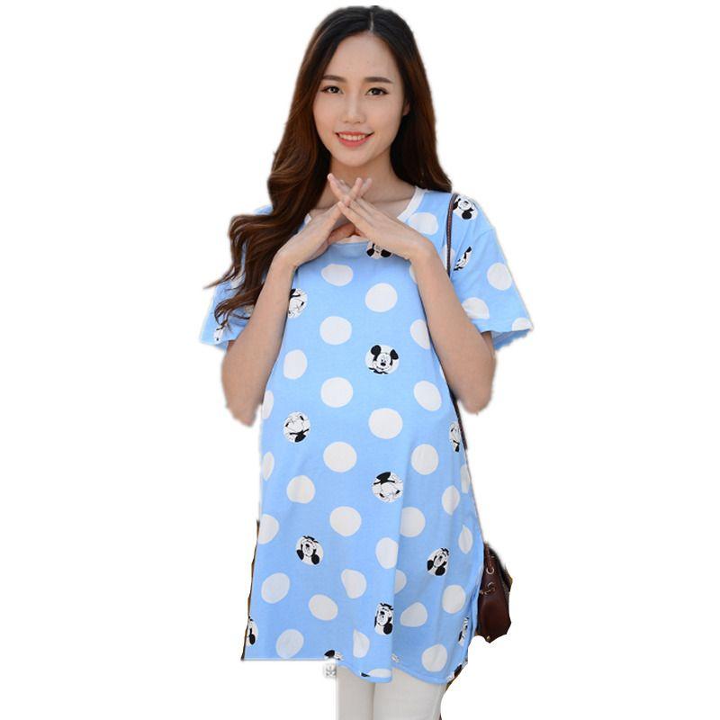 f794ee802 Compre Ropa Para Mujeres Embarazadas Camiseta Verano Lunares Impreso Tops  De Maternidad Más El Tamaño M ~ XXL Casual Manga Corta Camiseta De Embarazo  A ...