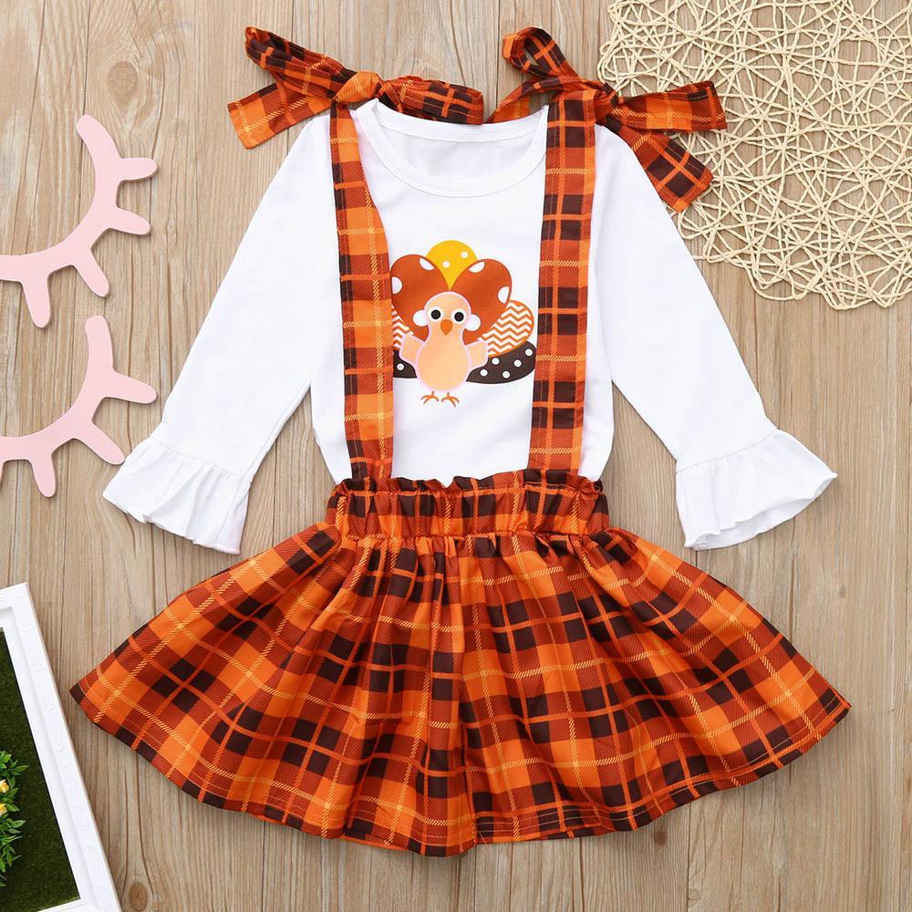 Acheter Toddler Baby Thanksgiving Day Turquie Imprimer Tops + Salopette Plaid  Jupe Coton Outfits Set Enfant Fille Vêtements Ensemble De  35.75 Du Qwinner  ... 90c289174e21
