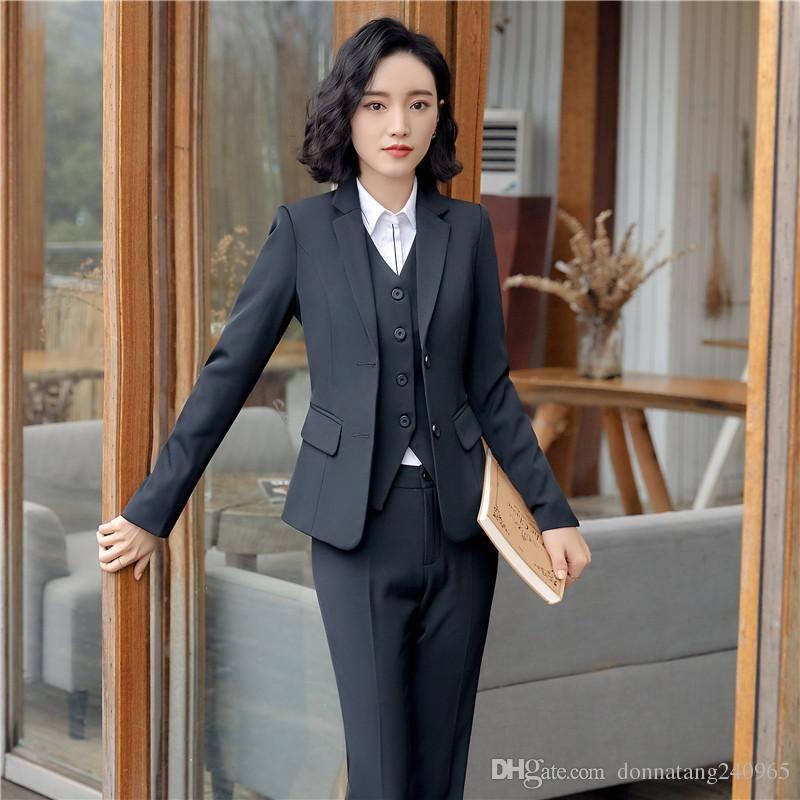 a3c03c5a2026 2019 Formal Uniform Designs Work Blazer Suits With Jackets +Vest + Skirt   Pant For Ladies Office Waistcoat   Vest Coat Uniforms Sets From Dujotree