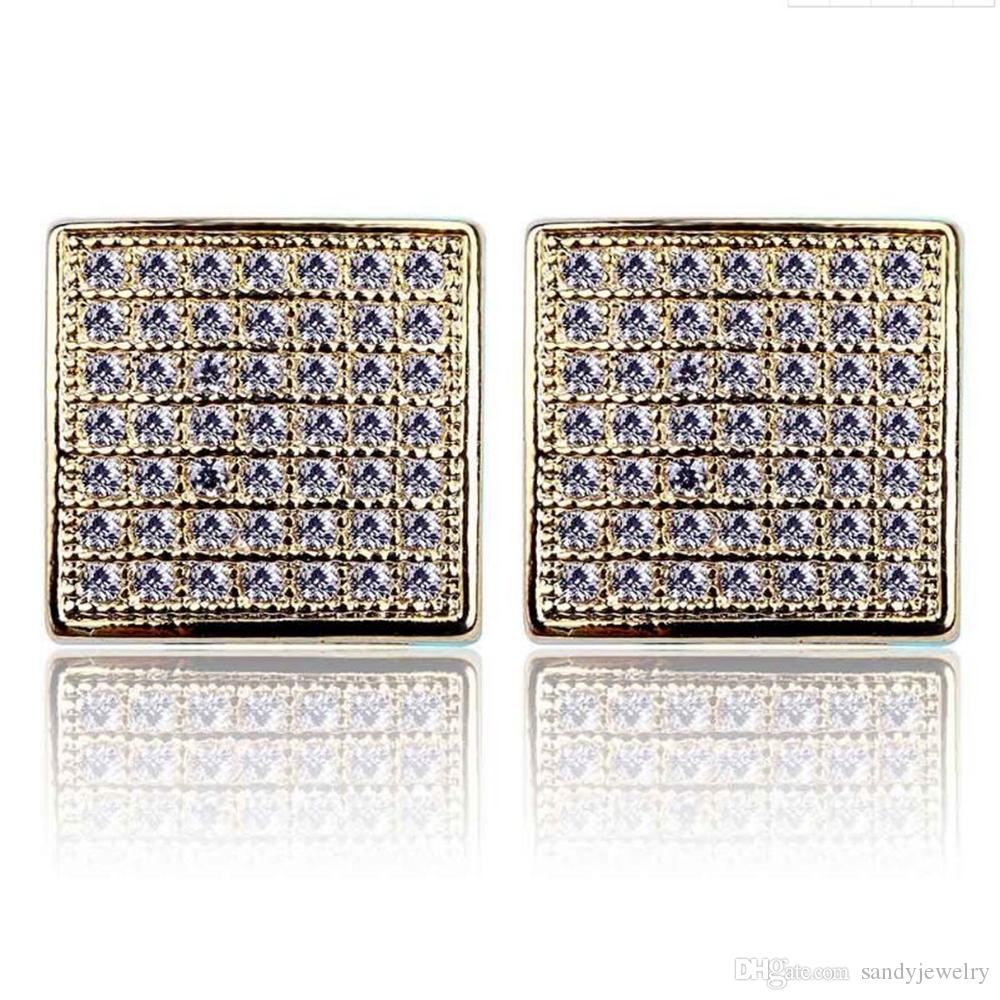 Hip Hop Earrings Gold/Silver Color Iced Out Micro Pave CZStone Square Earring Lab D Stud Earring With Screw Back