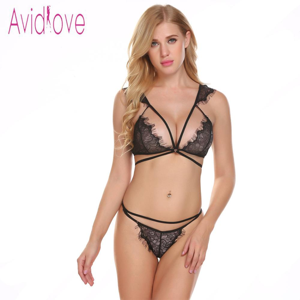 9a0137a8a24 Avidlove Women Babydoll Sexy Lingerie Open Cup Strappy Floral Lace Bra And  Women Set With G String Lenceria Y1892810 Lingerie Corsets Bra And Panty  Sets ...