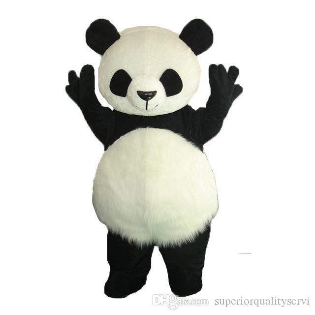 Long Hair Panda Bear Animal Adult Size mascot costumes Fancy Party Dress Suit +EPE Head