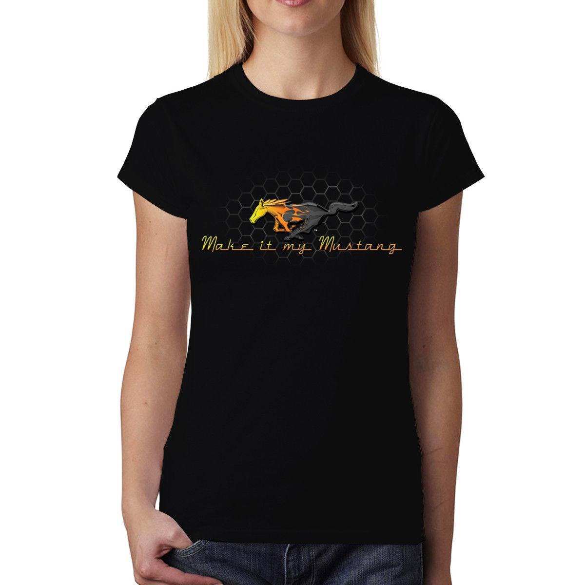 Logo Compre Grille Gold Ford Mustang Camiseta Mujer UFv0U