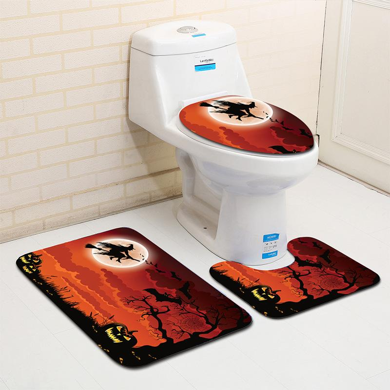 2018 halloween bathroom rug mats set pumpkin waterproof polyester toilet seat cover lid non slip square u shape mat rug bathroom decor from goahead_man