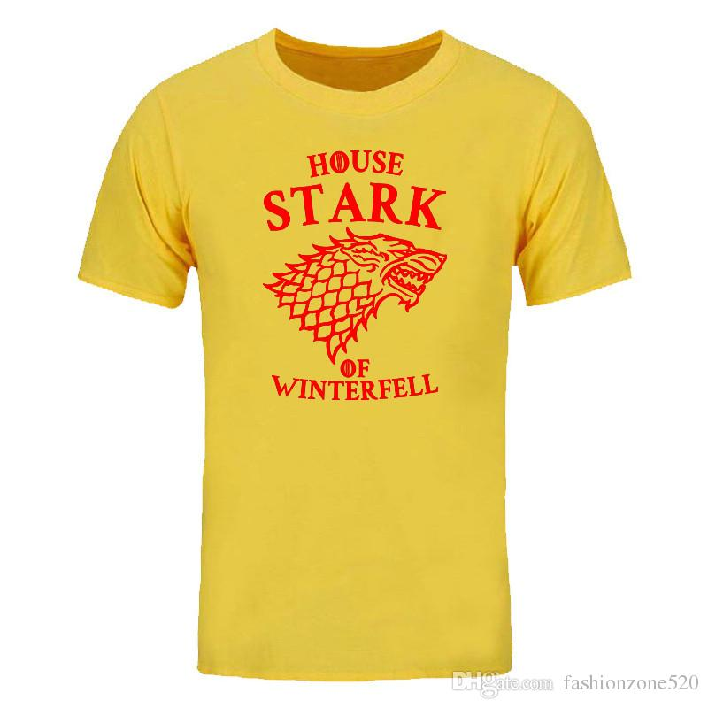 """summer fashion printed T-Shirt Game of Thrones """"House Stark of Winterfell"""" Graphic Design short sleeve T-Shirt casual cotton tees DIY-01269D"""