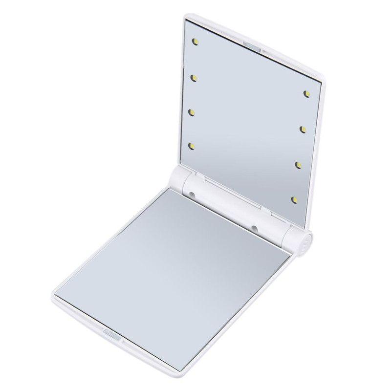 Portable Led Makeup Mirror Lady Makeup Cosmetic Folding Compact Pocket Mirror 8 LED Lights Lamps mini led comestic Mirror DHL
