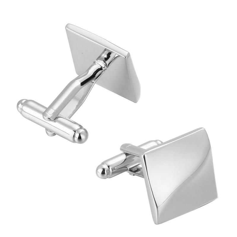 HYX Jewelry square Silver Wavy lines metal Brand Cuff Buttons French Shirt Cufflinks For Mens Fashion Cuff Links