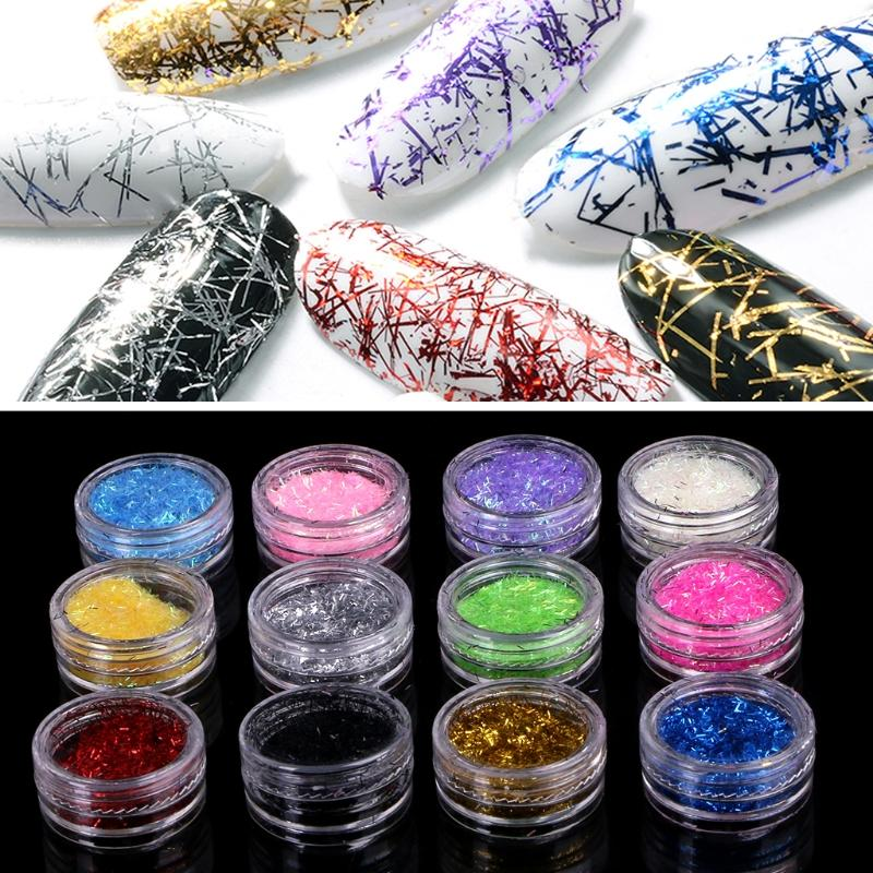 Gold Silver Grid Line Metal Alloy Nail Art Decorations Nail Stickers