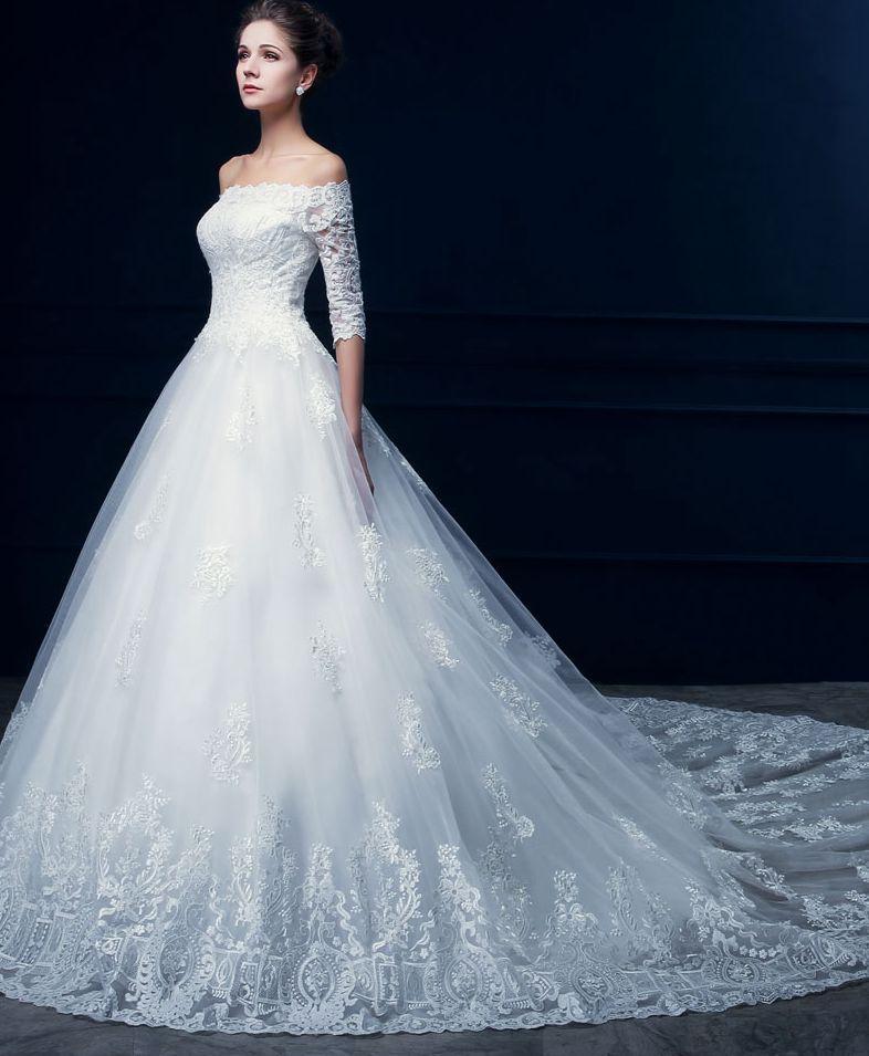 Hot Sale! Beach Wedding Dresses Bateau Neck Country Long Sleeves Lace Appliques Bridal Dresses Big Sweep Train Flower Dress Custom Made W07