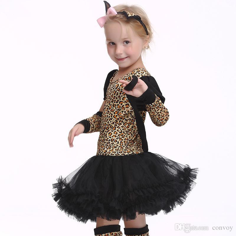Compre Niños Niños Disfraces De Halloween Cosplay Disfraces De Leopardo  Niñas Guante Sombreros Calcetines 4 Unids   Set Ropa De Cosplay Para Niños    Niñas ... 652d59541cd