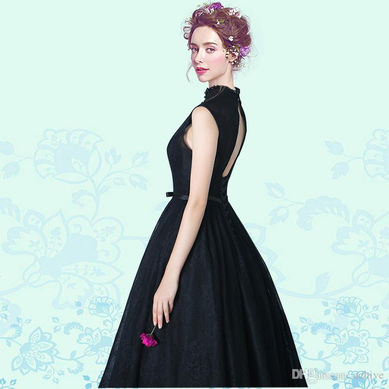 2018 Romance High Neck Black Evening Dresses Beaded Lace Sash Corset Formal Gowns Long South African Prom Dress Celebrity Gowns Cheap